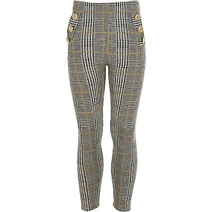 Girls black check button pocket leggings