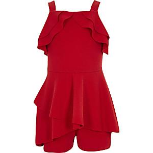 Roter Overall mit Rüschen für Mädchen