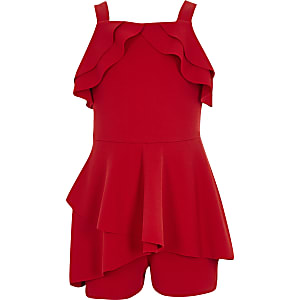 Combi-short rouge à volants pour fille