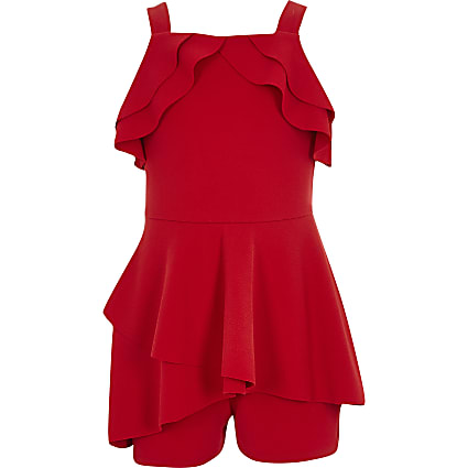 Girls red ruffle playsuit