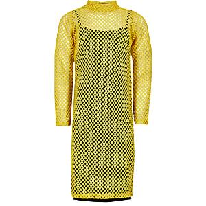 Robe mi-longue jaune en résilleà manches longues pour fille