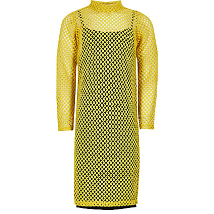 Girls yellow long sleeve mesh midi dress