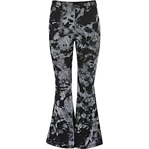 Zwarte tye-die uitlopende broek voor meisjes