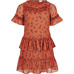 Gerüschtes Trapez-Kleid in Koralle für Mädchen