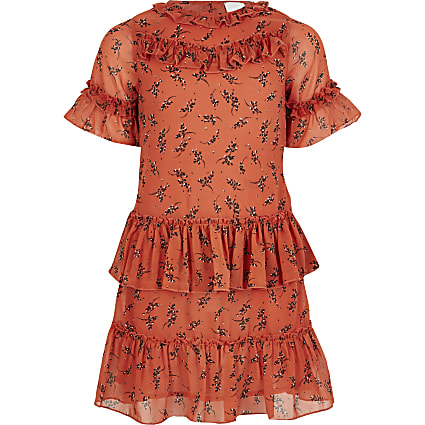 Girls coral ruffle trapeze dress