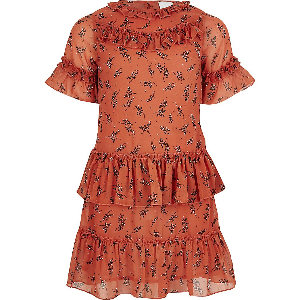 Girls coral ruffle trapeze dress
