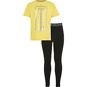 Tenue avec t-shirt jaune « Paris » pour fille