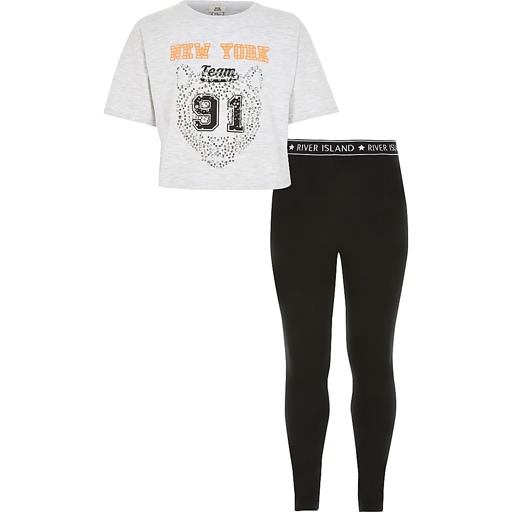Girls light grey 'New York' T-shirt outfit