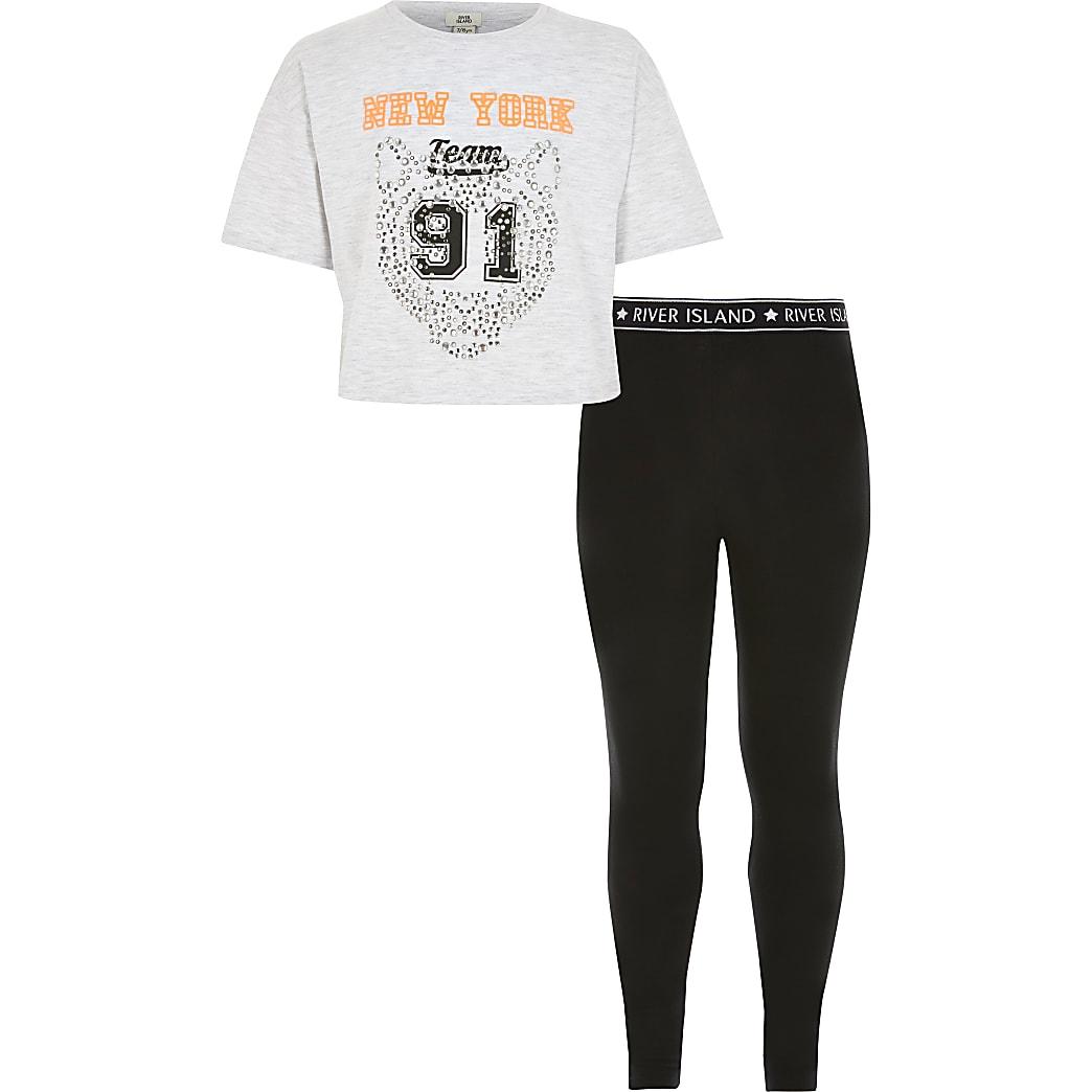 Tenue avec t-shirt gris clair« New York» pour fille