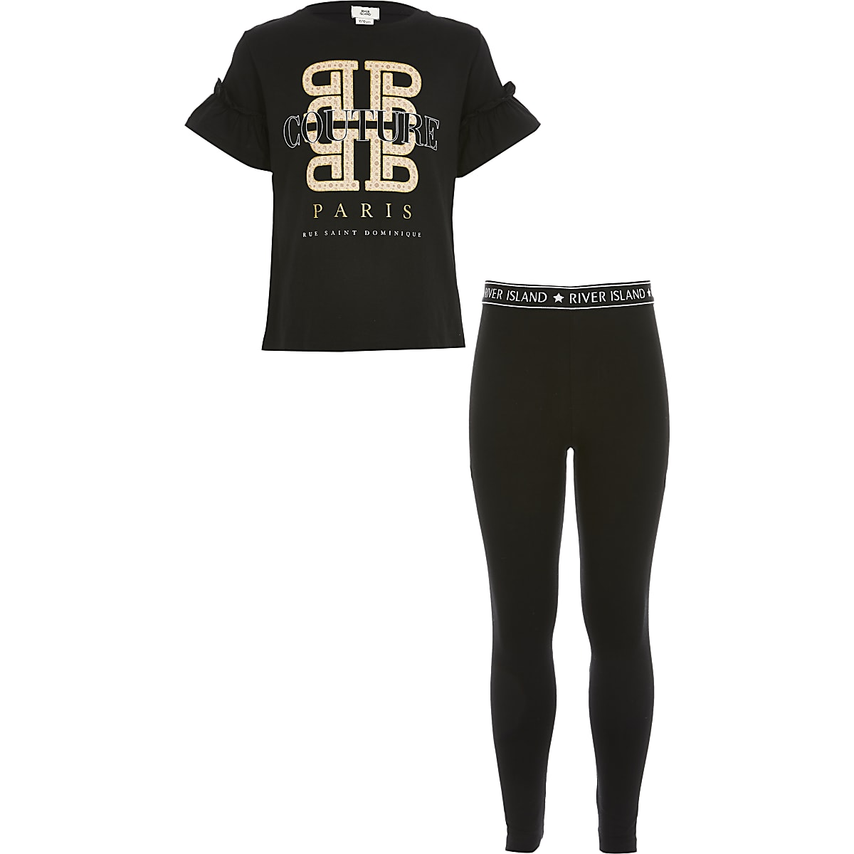 Girls black printed frill T-shirt outfit