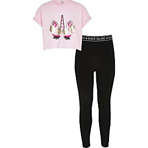 Pinkfarbenes T-Shirt-Outfit mit Einhorn-Print für Mädchen
