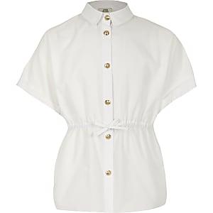 Weißes Popelinhemd für Mädchen mit geschnürter Taille