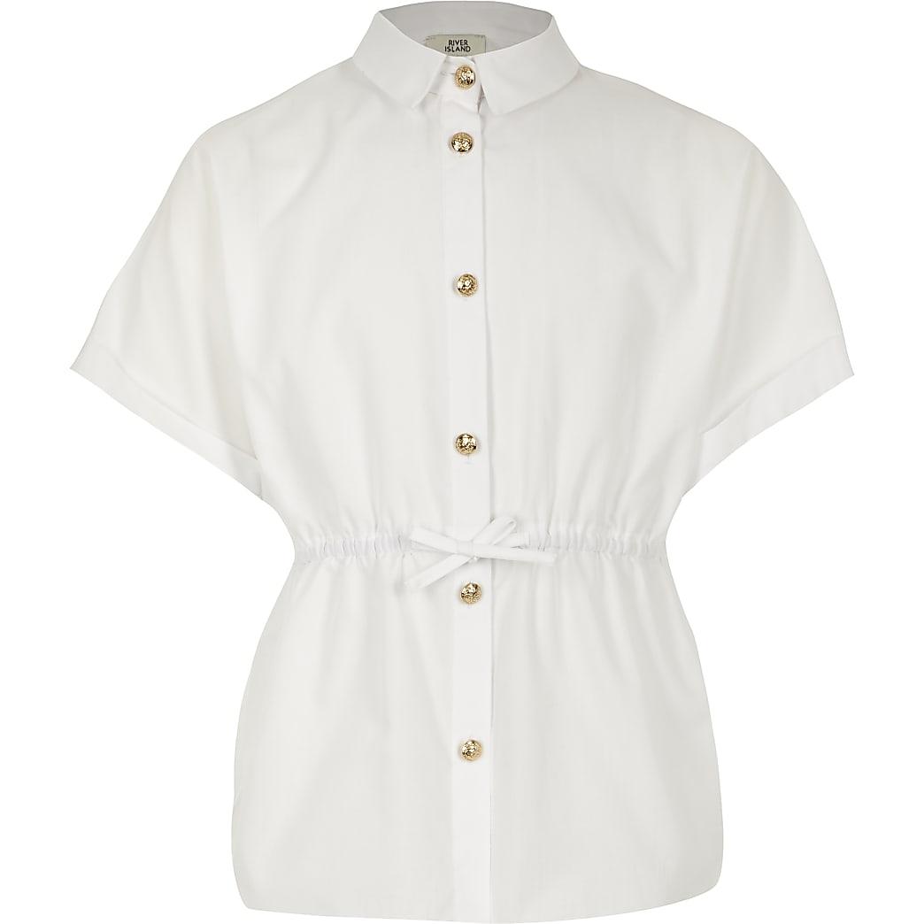 Girls white cinched waist poplin shirt