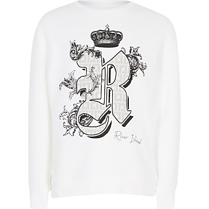 Kids white printed sweatshirt