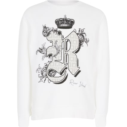 Boys white printed sweatshirt