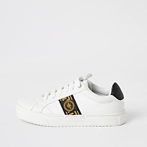 Weiße Sneaker zum Schnüren mit griechischem Wespen-Motiv für Jungen
