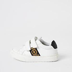 Mini - Witte sneakers met klittenband en wespen-print voor jongens