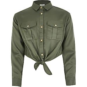 Kaki cropped overhemd voor meisjes met strik voor