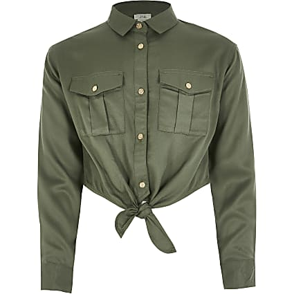 Girls khaki tie front cropped shirt