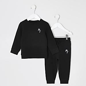 Mini – Schwarzes Sweatshirt-Outfit für Jungen