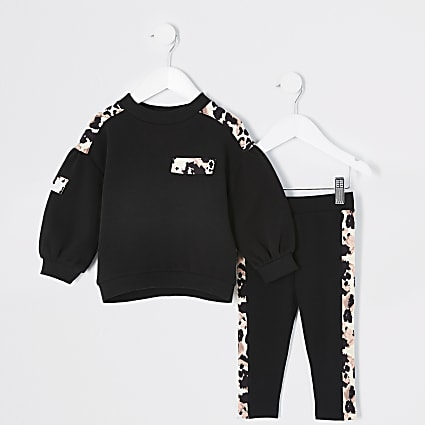 Mini girls leopard print utility outfit