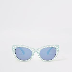 Mini - Groene verfraaide glam zonnebril voor meisjes