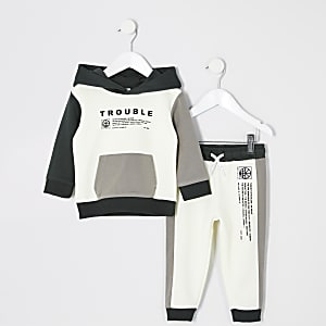 """Mini – Hoodie-Outfit """"Trouble"""" in Ecru für Jungen"""