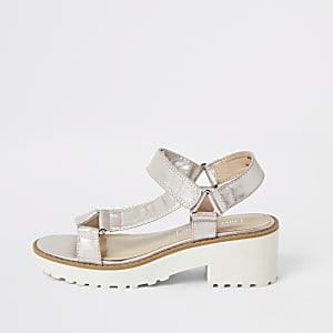 Sandales roses métallisées à gros talon pour fille