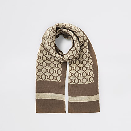 Girls brown RI monogram glitter scarf