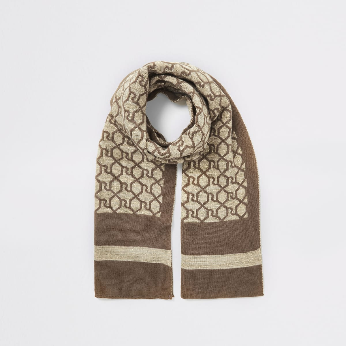 Girls brown RI monogram glitter scarf