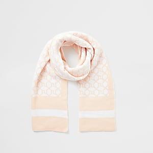 Pinkfarbener Schal mit RI-Monogramm für Mädchen