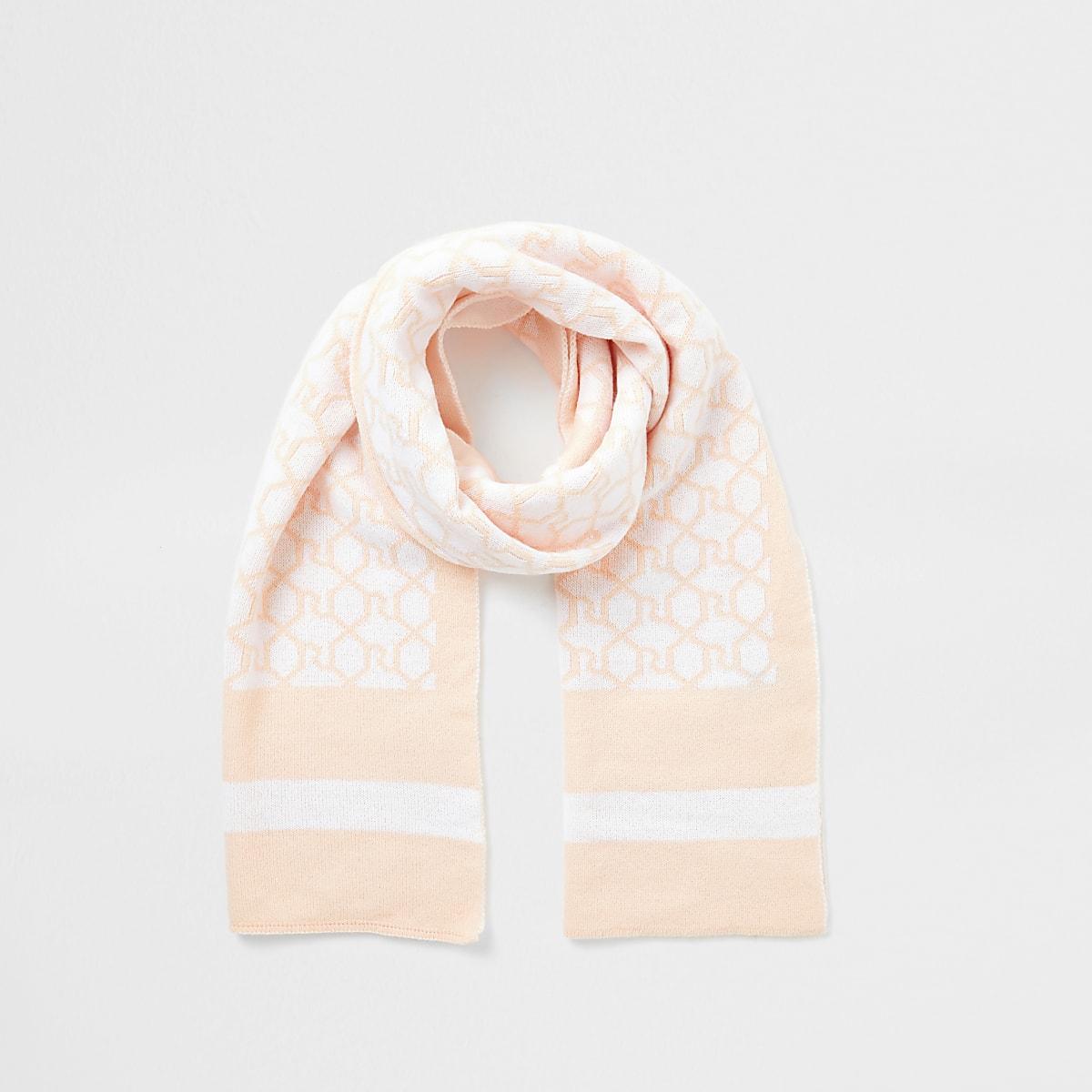 Roze sjaal met RI-monogram voor meisjes