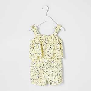 Mini– Gelber Overall für Mädchen mit Blumenmuster und Rüschen