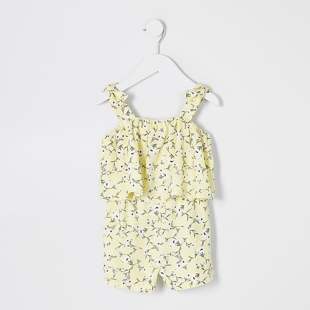 Mini girls yellow ditsy print frill playsuit
