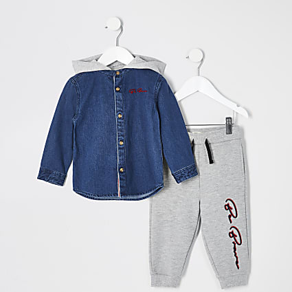 Mini boys blue hooded denim shirt outfit