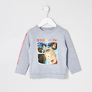 Mini - Grijze sweater met 'Home Alone'-print voor jongens