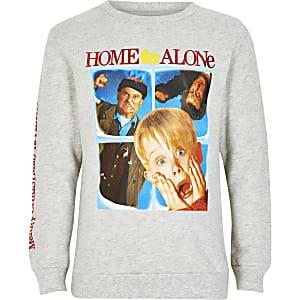 Grijze kerstsweater met 'Home Alone'-print voor jongens
