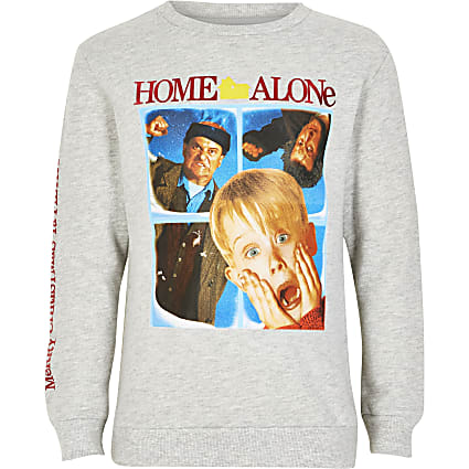 Boys grey 'Home Alone' Christmas sweatshirt