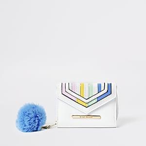 Witte uitvouwbare portemonnee met regenboog strepen voor meisjes