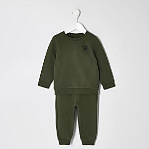 Khakifarbenes RVR-Sweatshirt-Outfit für kleine Jungen