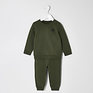 Mini - Outfit met kaki sweatshirt met RVR-letters voor jongens