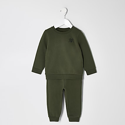 Mini boys khaki RVR sweatshirt outfit