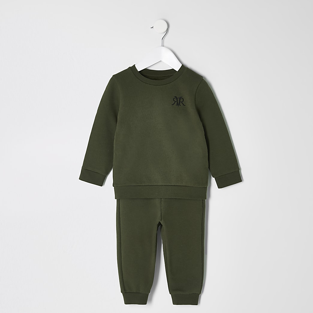 Mini boys khaki RVR sweatshirt outfit