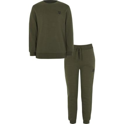 Boys khaki 'RVR' sweatshirt outfit