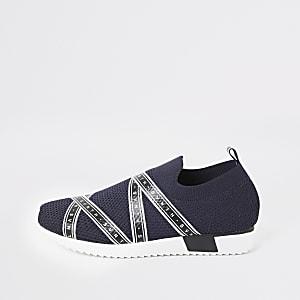 Svnth - Marineblauwe gebreide sneakers voor jongens