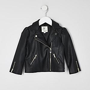 Mini – Schwarze Jacke mit Puffärmeln