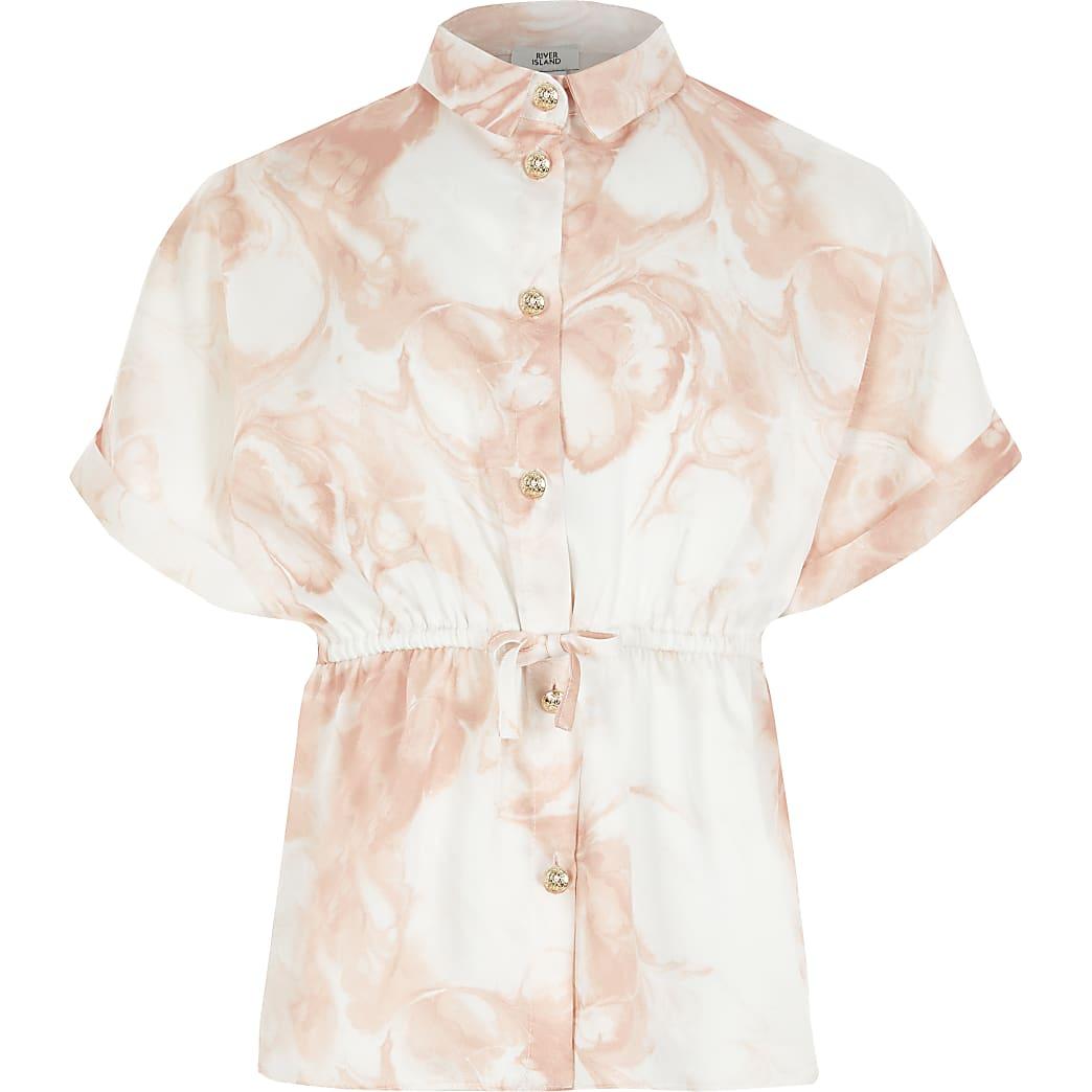 Girls light pink marble tie waist shirt