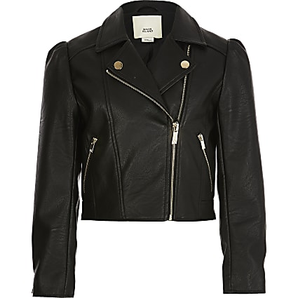 Girls black faux leather puff sleeve jacket