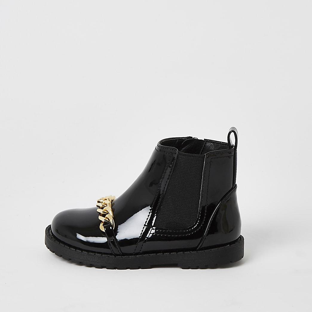 Mini -Zwarte lakleren laarzen met kettinkje vooropvoor meisjes