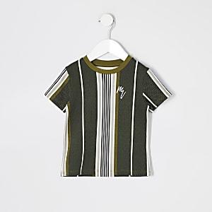 Mini - Kaki gestreept T-shirt met visgraatprint voor jongens